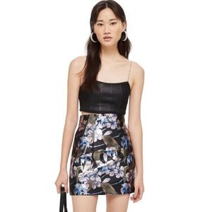 NWT TOPSHOP Flower Painted Mini Skirt in Black